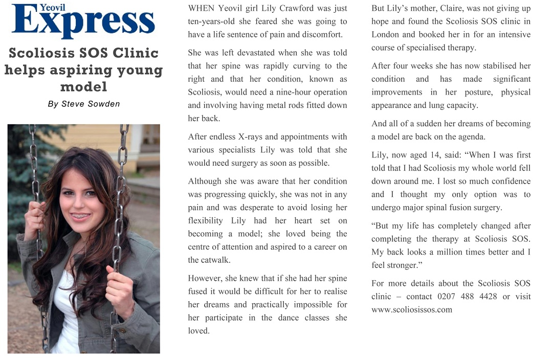 Scoliosis Article in Yeovil Express