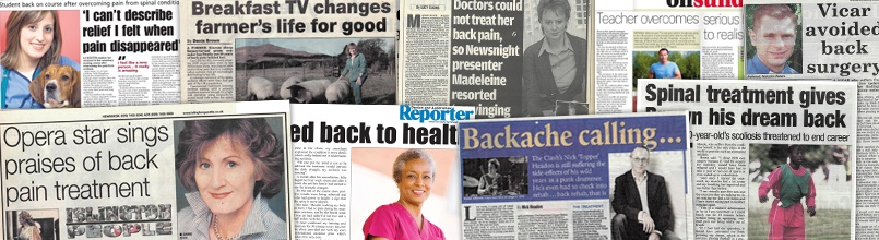 Newspaper articles about people working with scoliosis