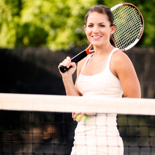 Scoliosis SOS patient Sarah on tennis court