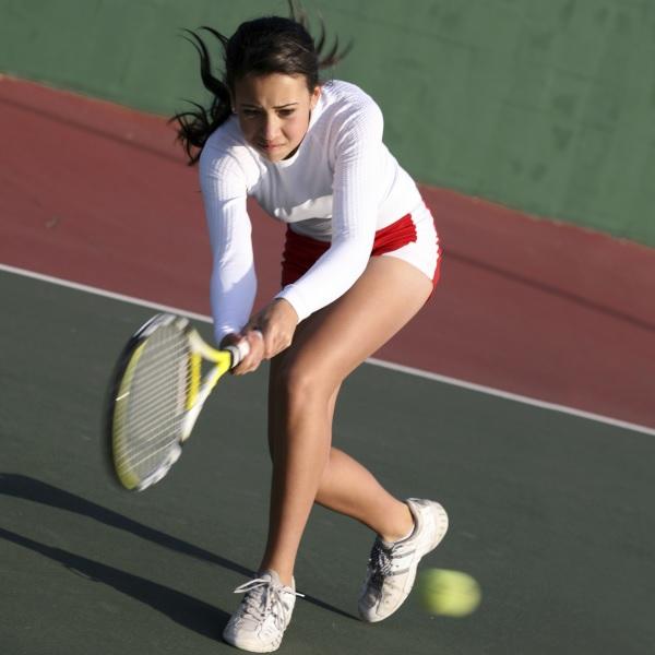 Stephanie on the tennis court