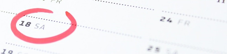 Calendar with menstruation date circled