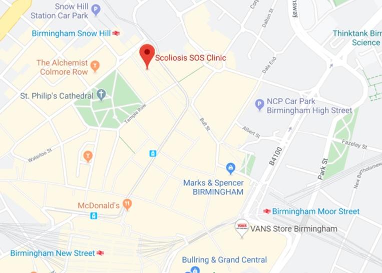 Scoliosis SOS Birmingham Travel Map