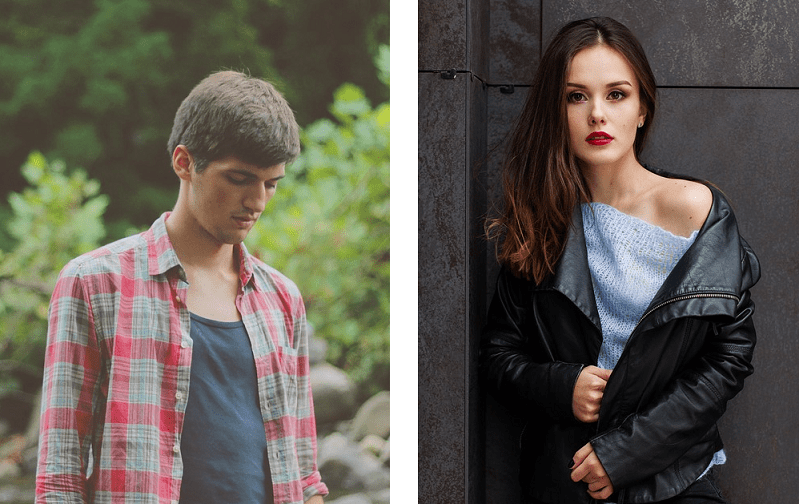 Male and female clothing models