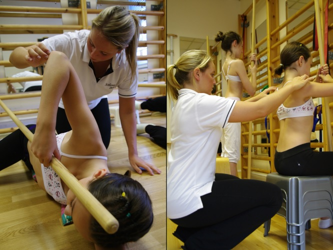 Poles for scoliosis exercises