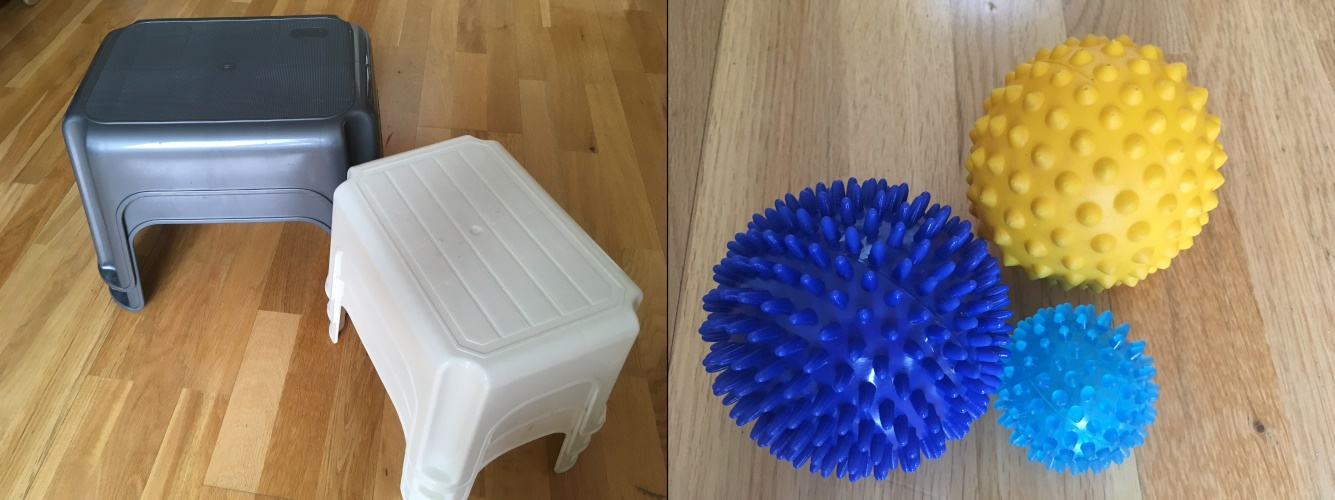 Plastic stool and trigger point balls